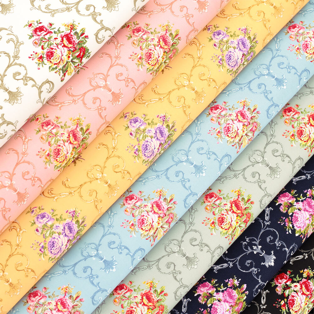 Cotton fabric by fq vintage royal flower bouquet retro for Cotton quilting fabric