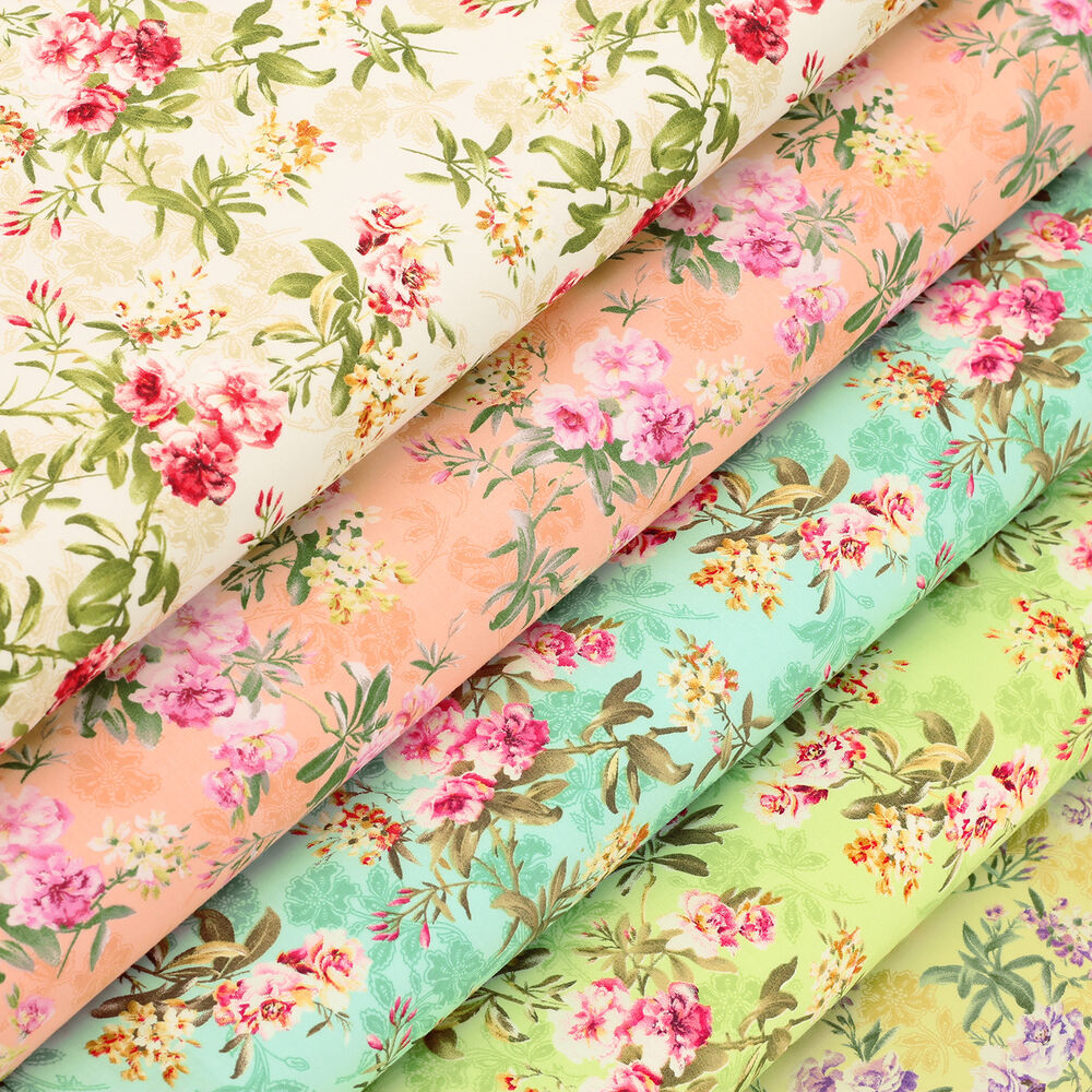 Wild flower retro floral print cotton fabric dress for Cotton quilting fabric