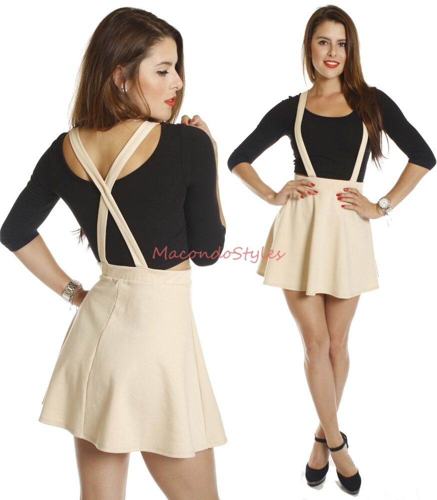 new khaki suspender braces mini skirt high waisted waist