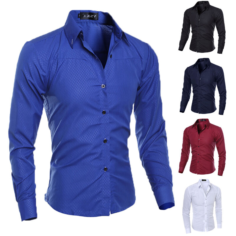Luxury new fashion mens slim fit shirt long sleeve dress for Where to buy casual dress shirts