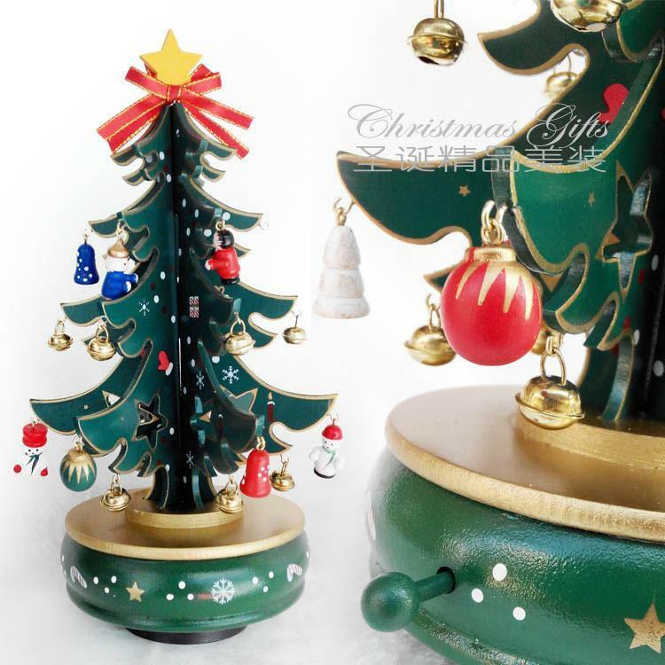 Christmas Tree With Toys : Wooden christmas tree rotating music box diy toys