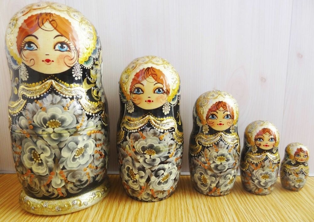 nesting doll russian matryoshka black and white painting