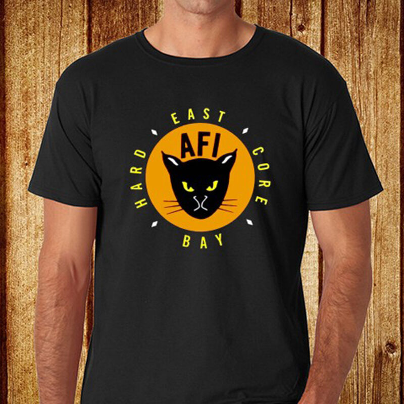 New afi east bay kitty rock band men 39 s black t shirt size for South bay t shirts
