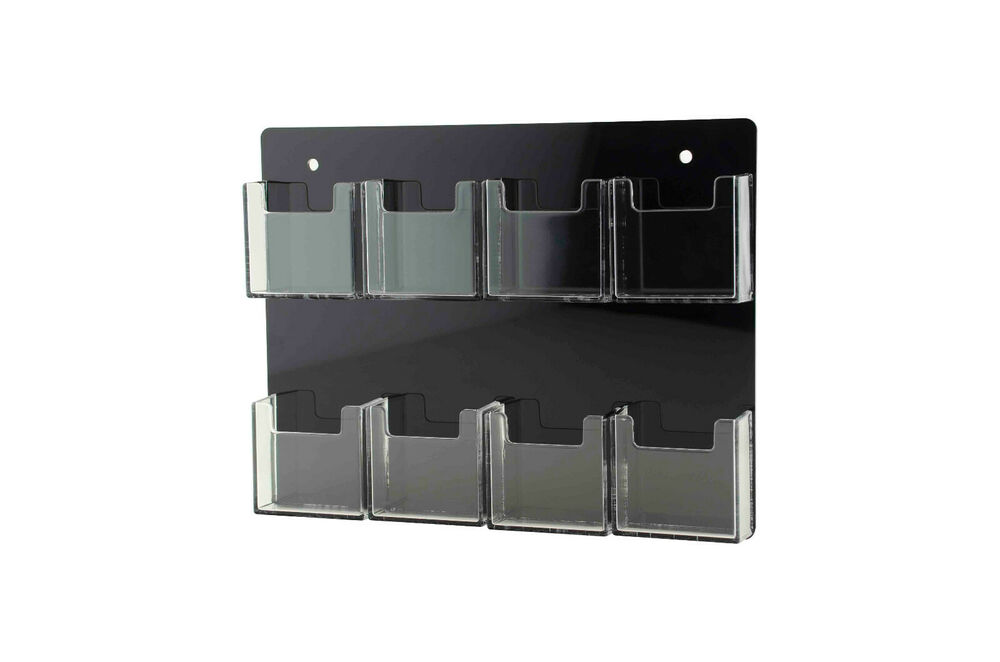 8 pocket wall mount vertical clear acrylic business card for Business card holder wall mount