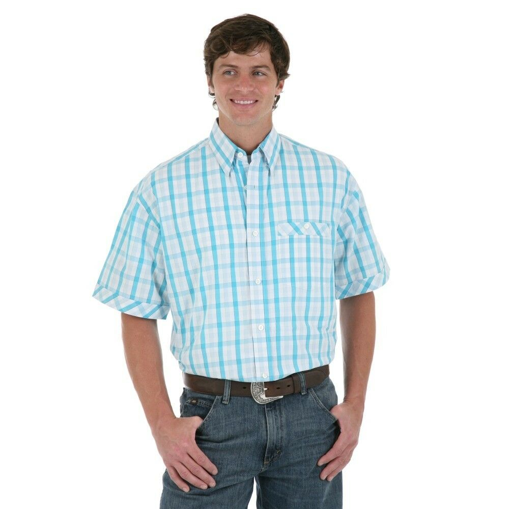 Wrangler 20x blue teal white short sleeve plaid button up for Mens teal button down shirt