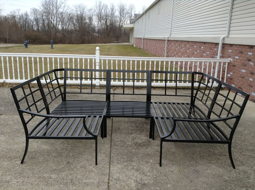 Wood patio chair - Pottery Barn Riviera Outdoor Sectional Sofa Frame Bronze Armless