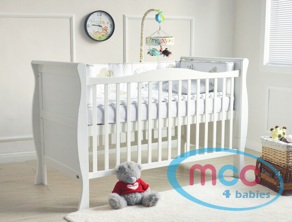 MCC Solid Wooden Baby Cot Bed Sleigh Cotbed Toddler Bed