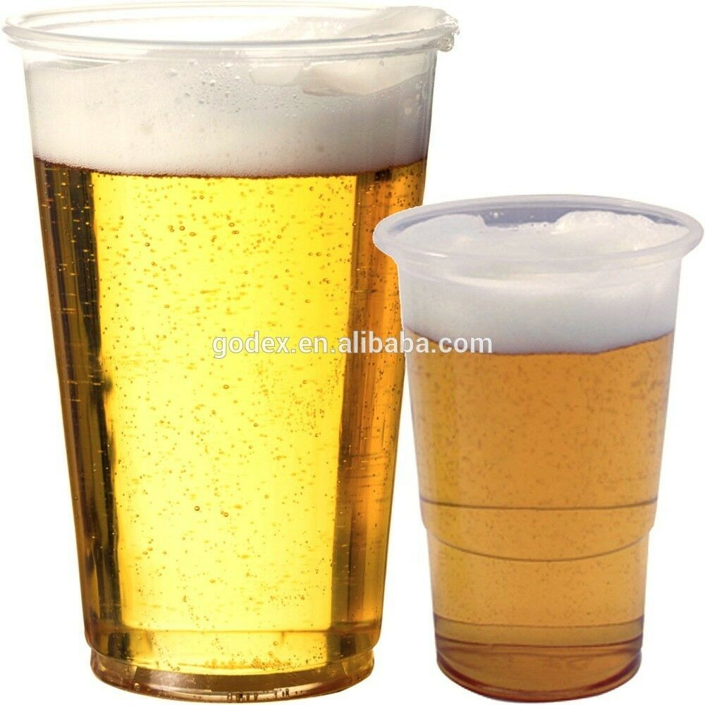 Disposable clear strong plastic pint half 1 2 beer for How strong is acrylic glass