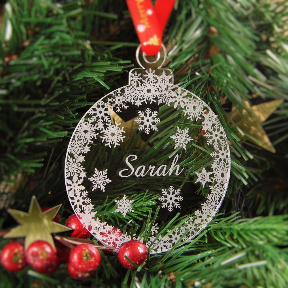 Christmas Tree With Baubles: Personalised Christmas Tree Decoration Engraved Bauble