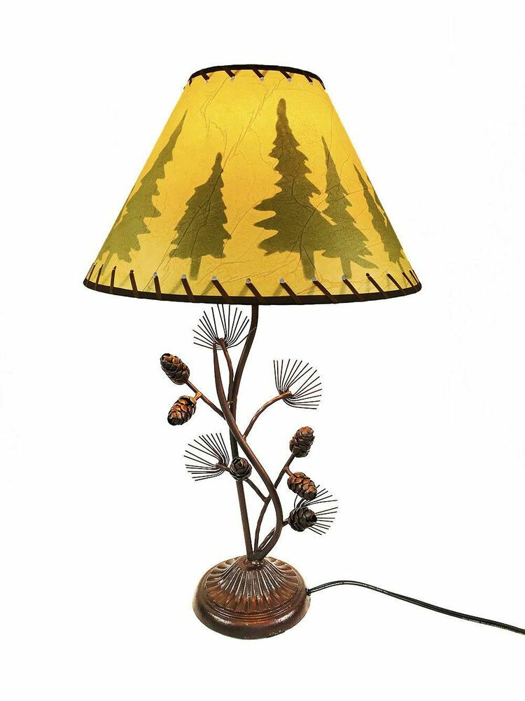 western metal pine cone desk table lamp rustic country style home. Black Bedroom Furniture Sets. Home Design Ideas