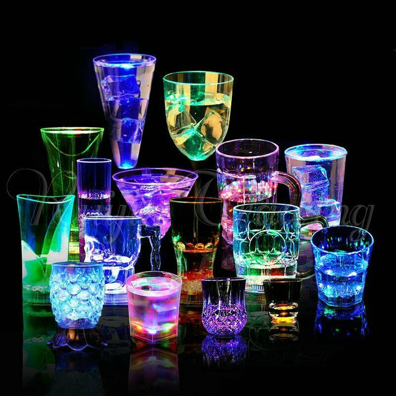Lite Up Glass Lamps : Led light up flashing beer mug drink cup wine glass for