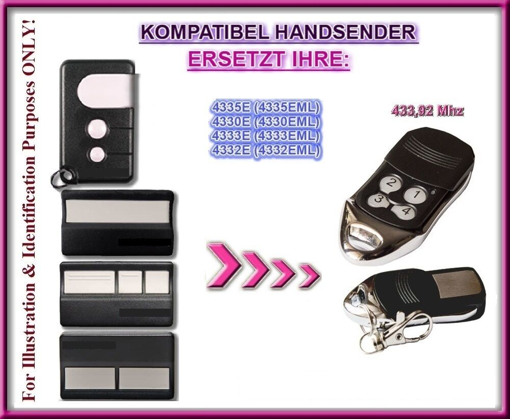 motorlift 4330eml 4333e 4335eml kompatibel handsender ersatz fernbedienung ebay. Black Bedroom Furniture Sets. Home Design Ideas