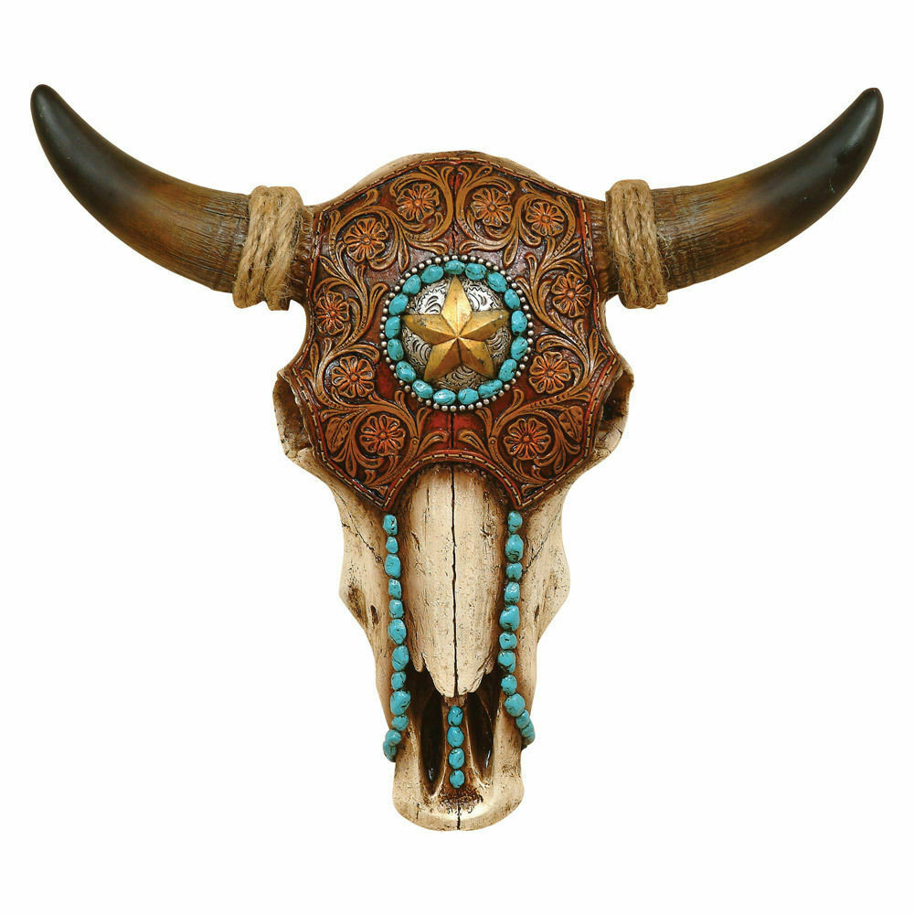 Bull Steer Cow Skull Head Horns Tooled Leather Turqoise Star Wall Mount Tribal Ebay