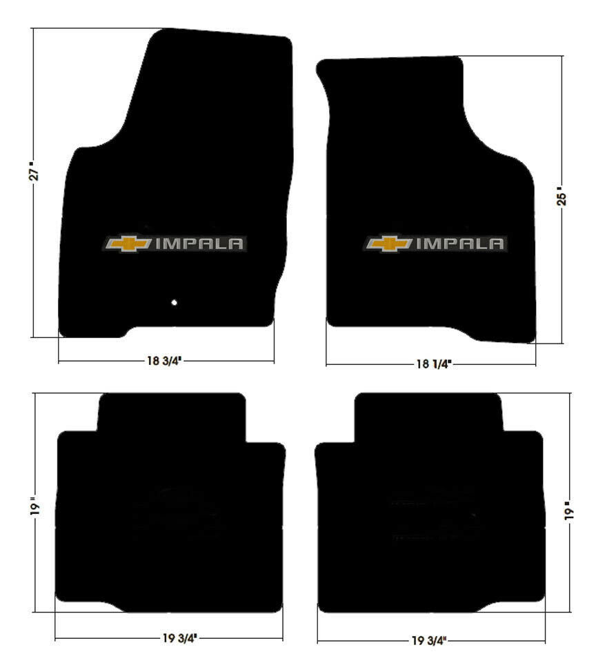 NEW! BLACK Floor Mats 2006-2014 Chevy Impala Embroidered