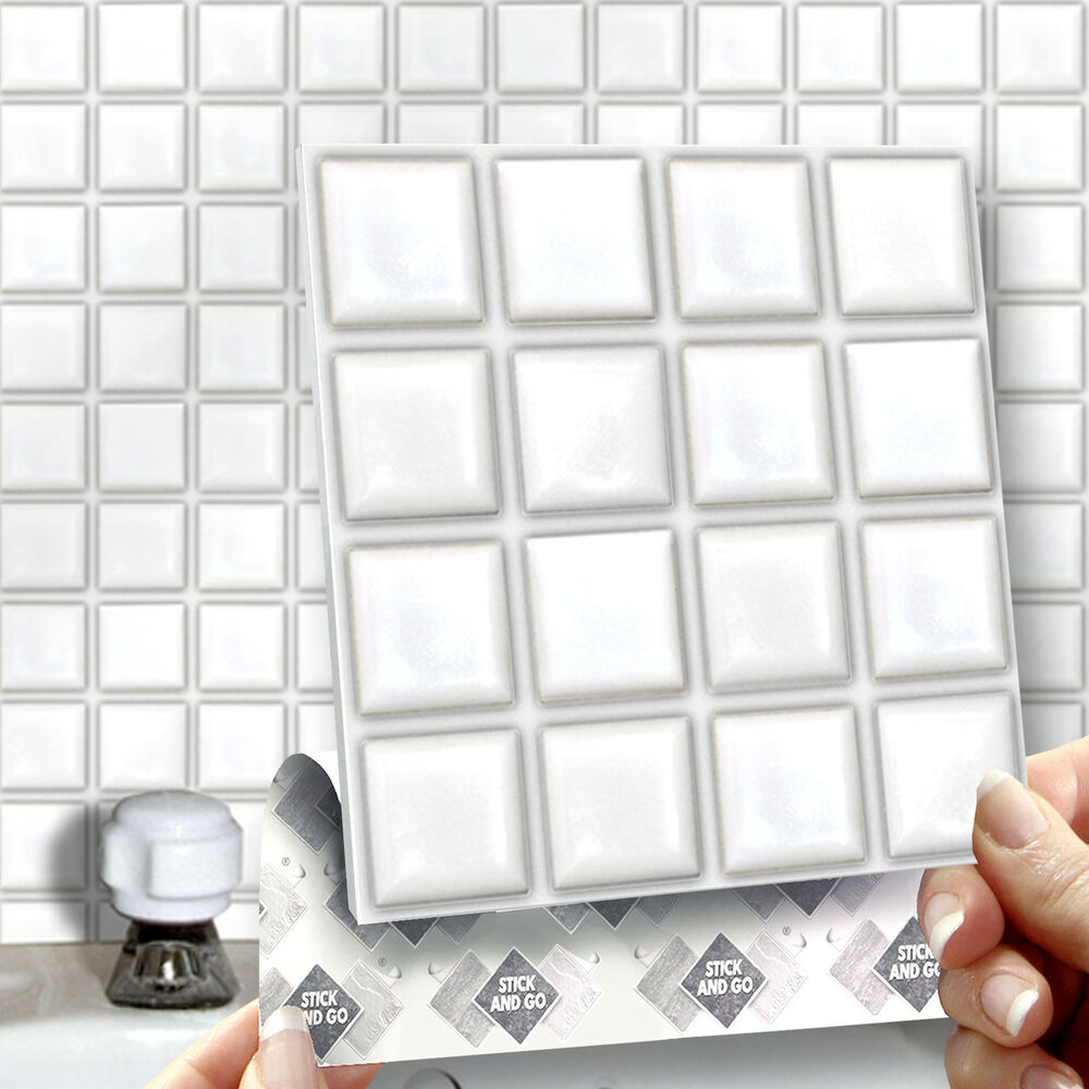 stick on tiles for bathroom walls 8 stick amp go white stick on wall tiles for kitchens 25778
