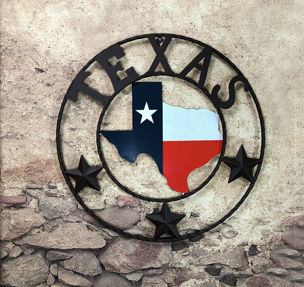 Western metal texas map flag circle with stars wall for Sign decoration