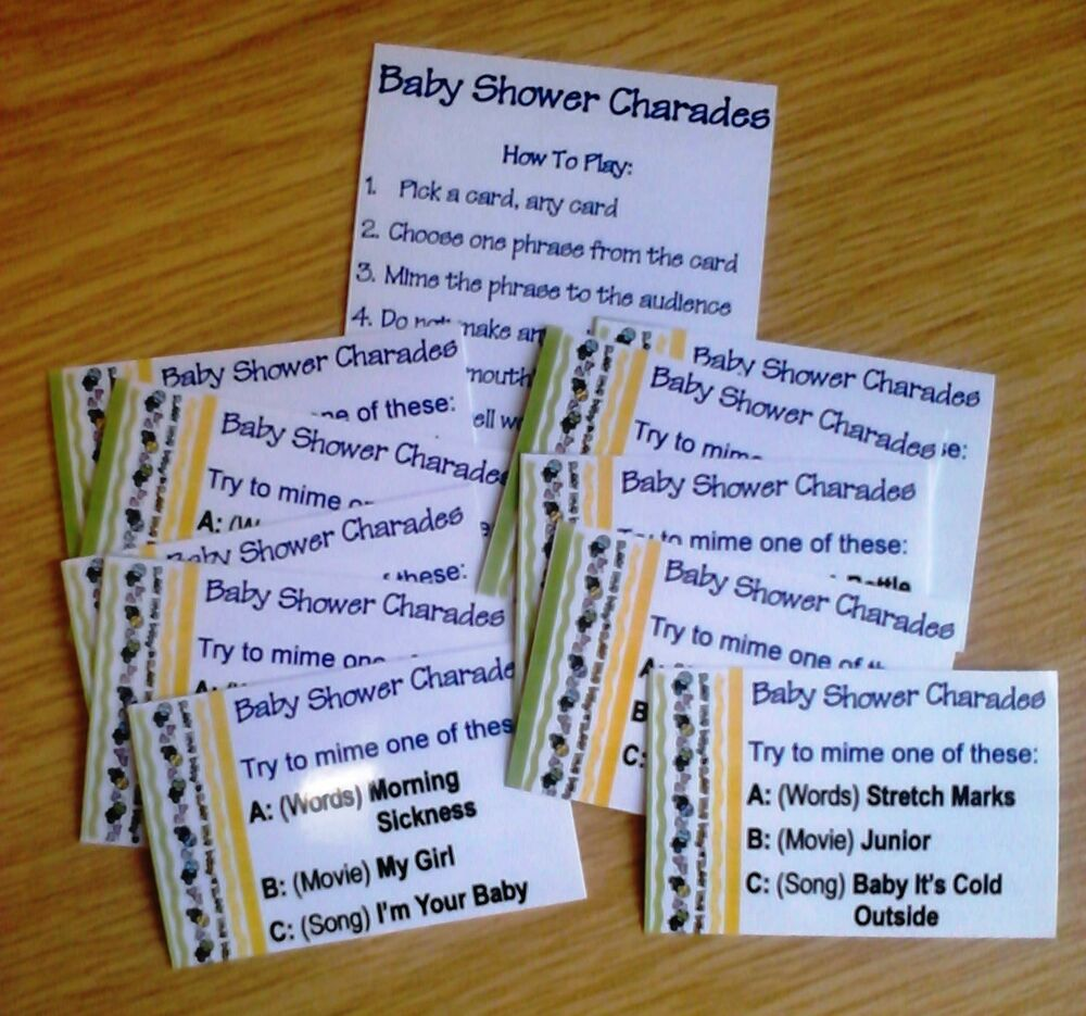 CHARADES Baby Shower Game. Up To 30 Phrases To Play: Movies, Songs Or Baby  Words | EBay