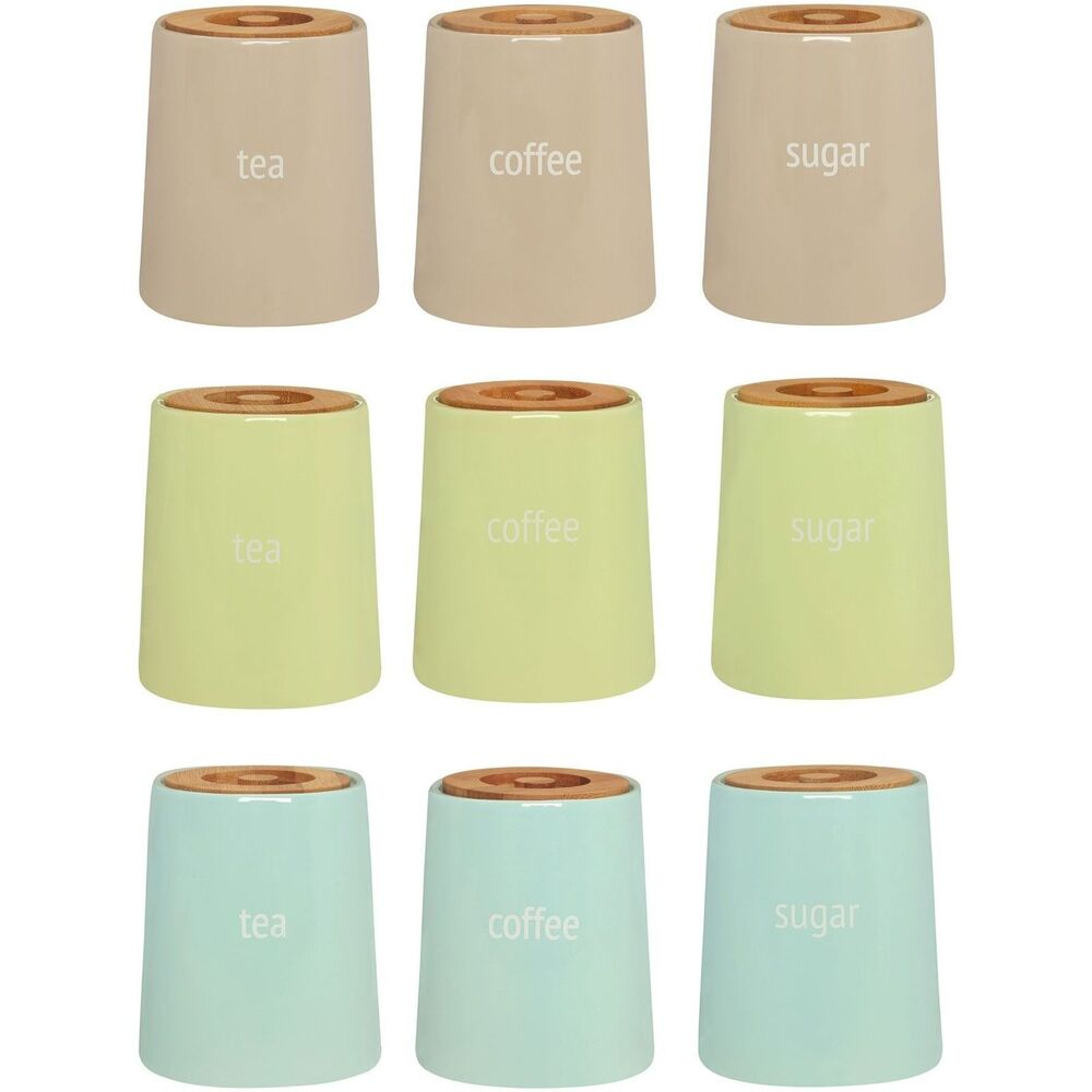 Typhoon Tea Coffee Sugar >> Fletcher Tea Coffee Sugar Canisters Kitchen Ceramic Storage Jars With Bamboo Lid | eBay