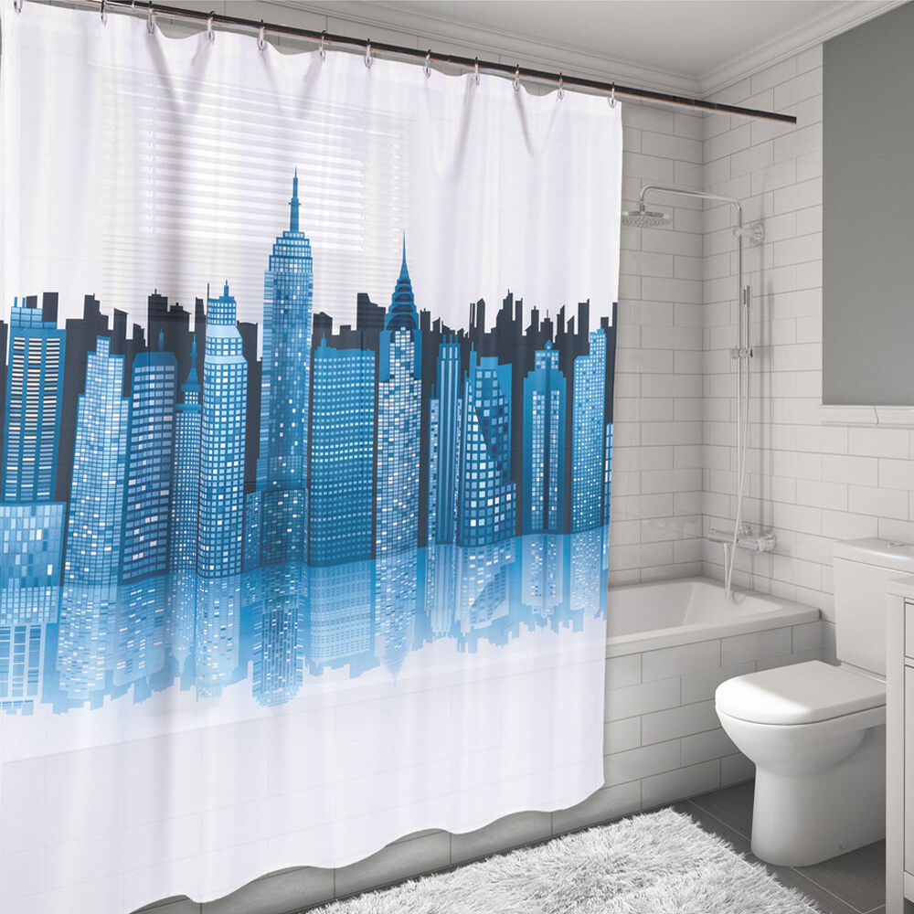 New York City Skyline Design Water Resistant Fabric Shower Curtain 70 X 72 Ebay