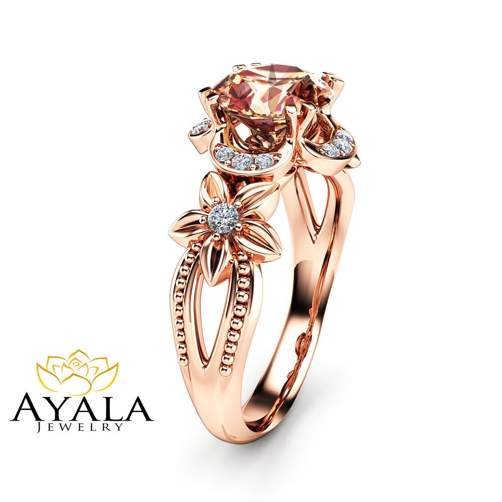 14k rose gold morganite engagement ring unique morganite ring art deco ring ebay. Black Bedroom Furniture Sets. Home Design Ideas