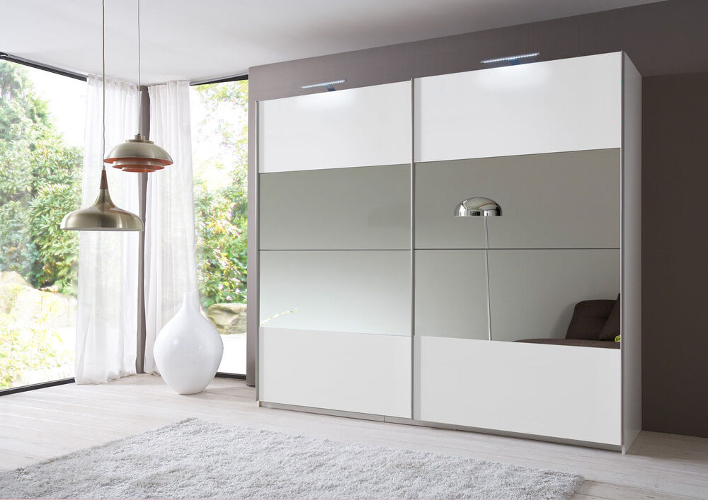 eleganz white mirror 225cm sliding door mirror wardrobe ebay