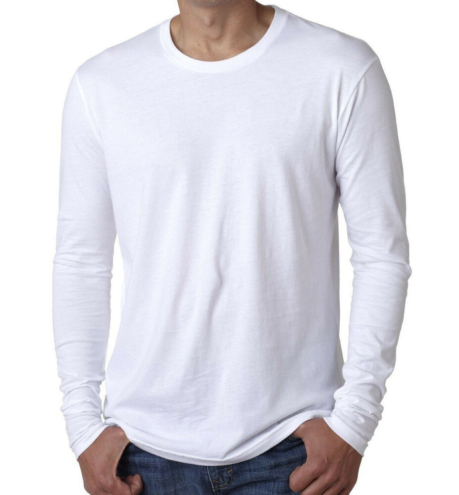 Men's LONG SLEEVE T-SHIRT 100% Cotton Plain Tee White 3601 ...