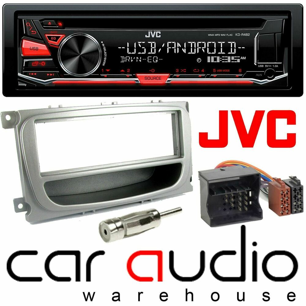 ford focus mk2 5 jvc car stereo cd mp3 radio usb aux player silver fitting kit ebay. Black Bedroom Furniture Sets. Home Design Ideas