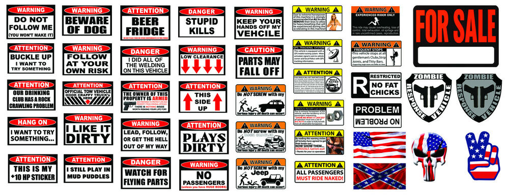 Rc 1 10 scale warning decal stickers axial crawler graphic garage 1 9 2 2 rc set ebay
