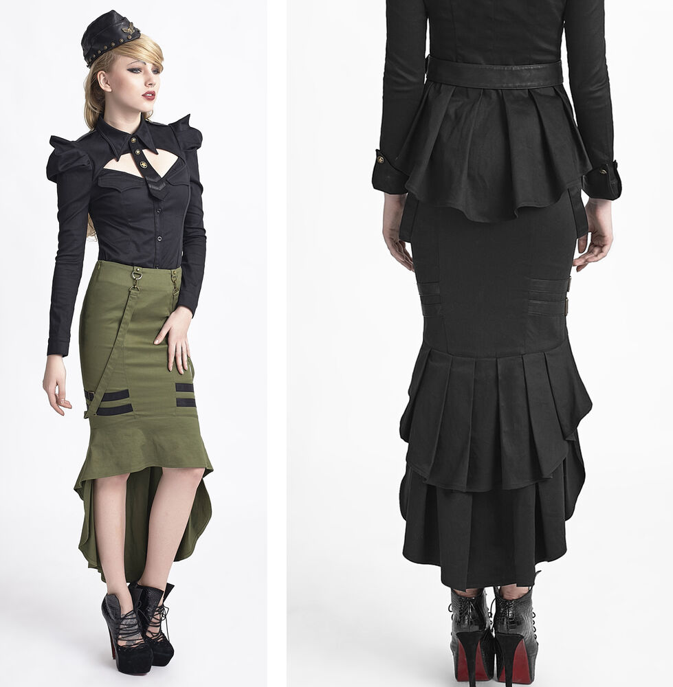 Steampunk Punk military style Fashion Womens Sexy fishtail Gothic Skirt 2 color | eBay