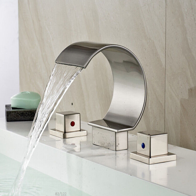 Widespread Waterfall Bathroom Basin Faucet Brushed Nickel Vanity Sink Mixer Tap Ebay