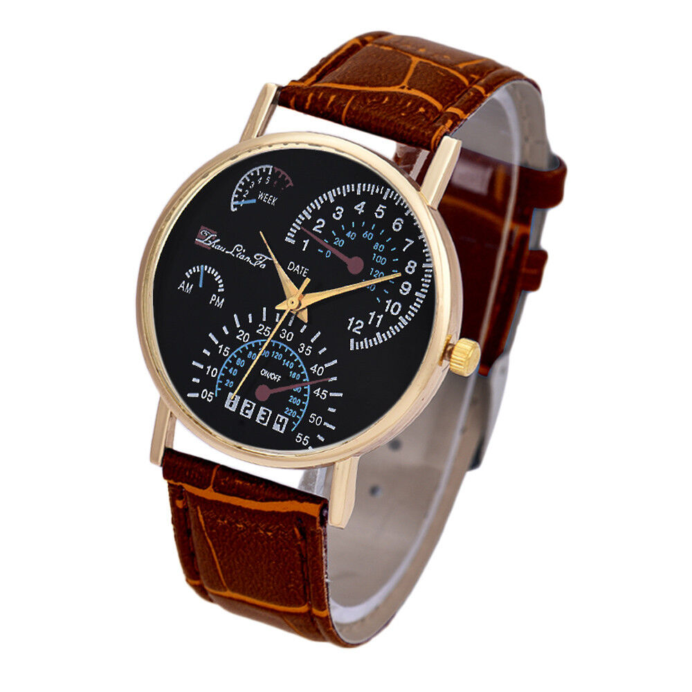 Fashion Mens Watches Leather Band Analog Quartz Business ...