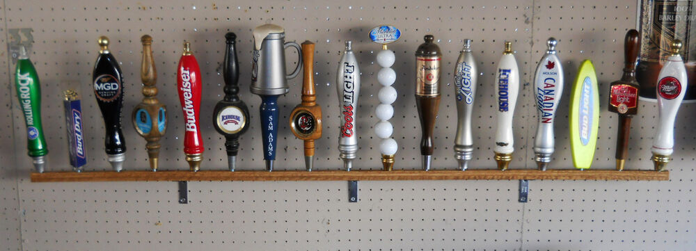17 Place Beer Tap Handle Display Wall Mounted Solid Oak 58