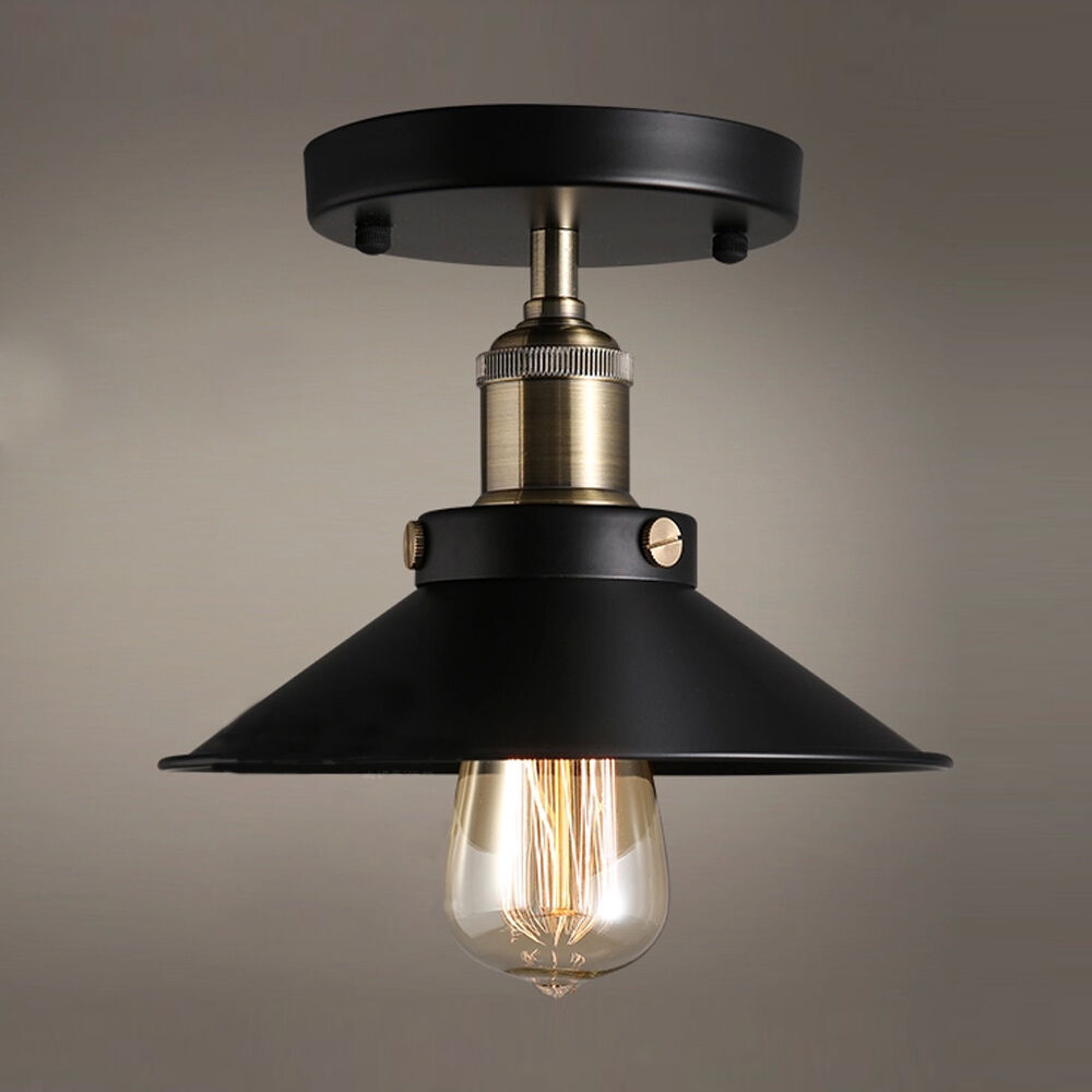 Black Industrial Flush Mounted Ceiling Light Fixtures Vintage Chandelier Lamp Ebay
