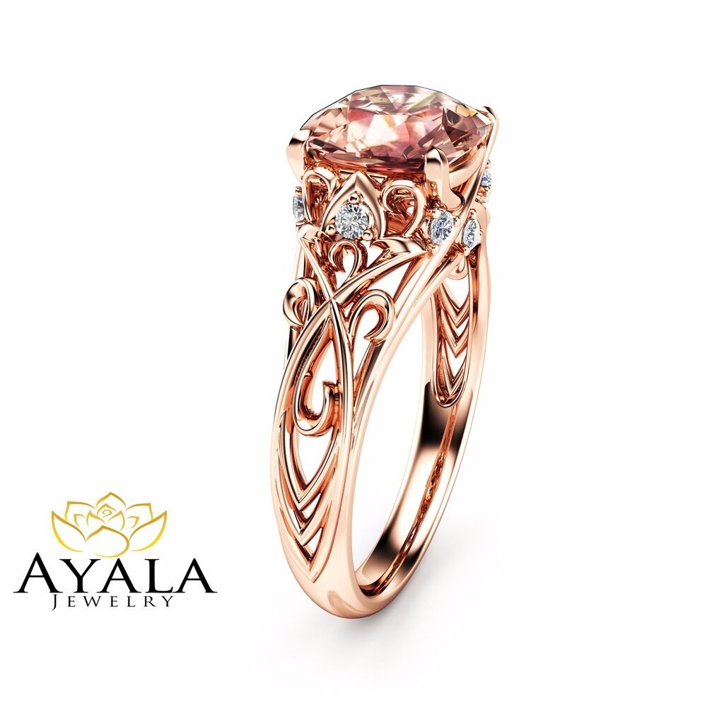 Cushion Cut Morganite Engagement Ring 14K Rose Gold Ring Unique Art Deco Ring