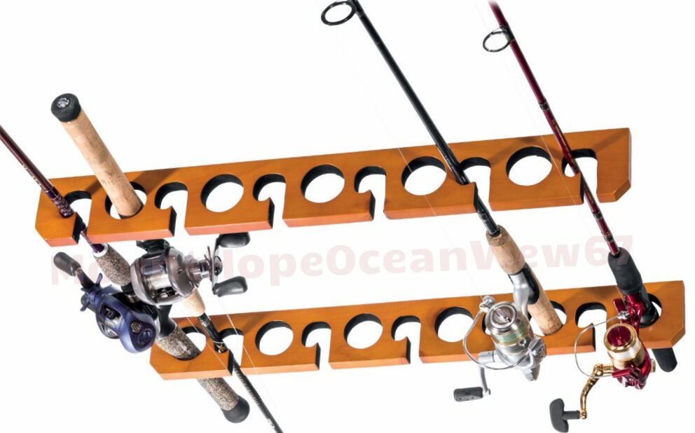 Ceiling rod rack storage reel fishing mount horizontal for Horizontal fishing rod rack