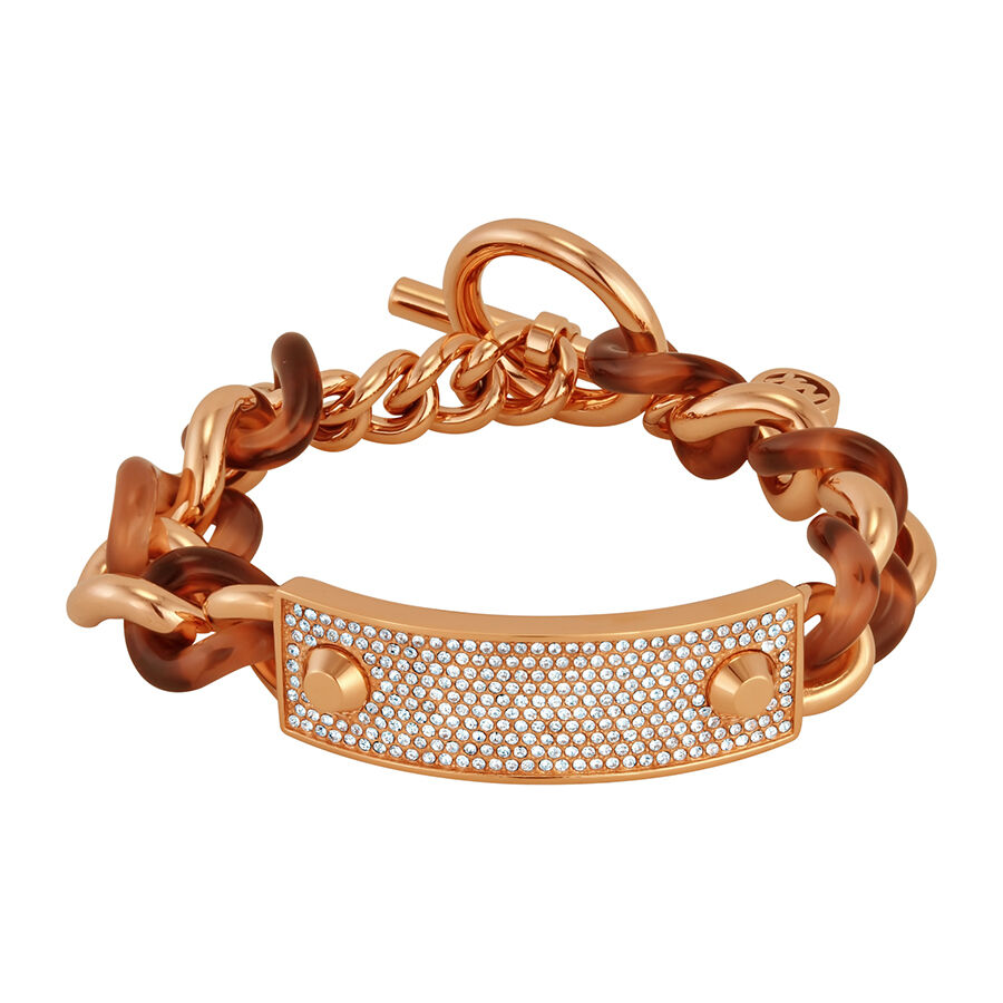 michael kors rose gold tone and tortoise toggle bracelet mkj4322791 ebay. Black Bedroom Furniture Sets. Home Design Ideas