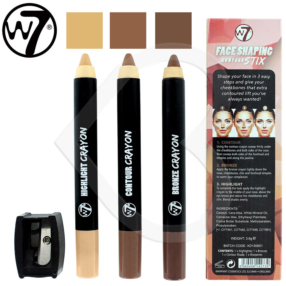 W7 Face Contour Crayons Sticks Highlight, Bronzer & Contour Shade Contour  Kit Ebay W7 Face Oval Howto: Apply Blush To Flatter Your