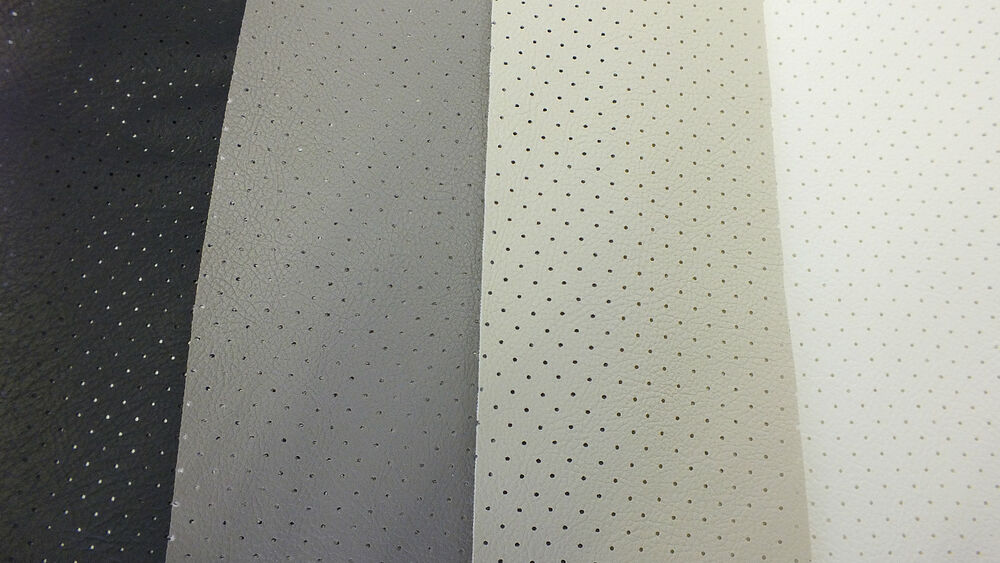 Perforated Vinyl Faux Leather Headlining Black Grey