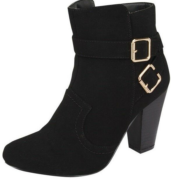 new high heel ankle boots black nubuck leather
