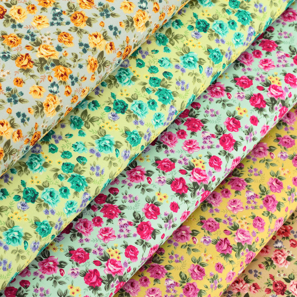 Cotton fabric per fq rose flower shabby vintage retro chic for Cotton quilting fabric