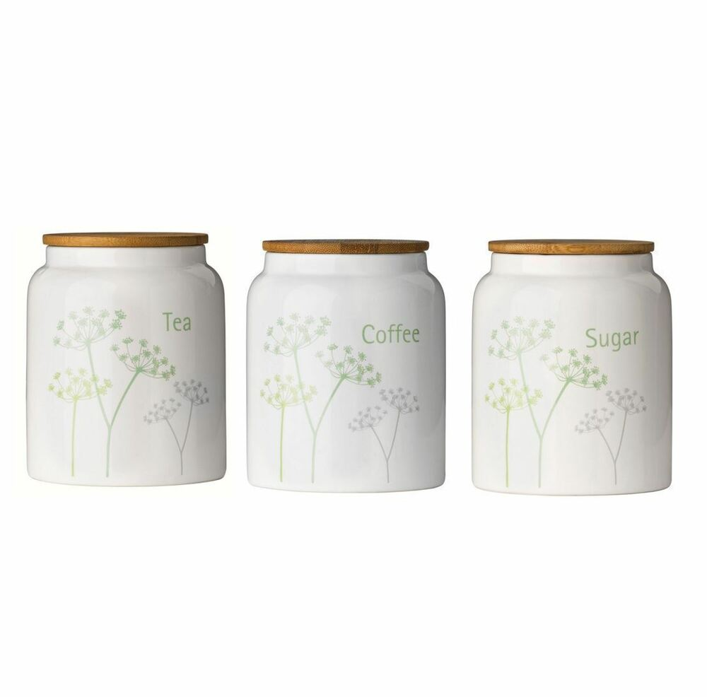 Cow Parsley Tea Coffee Sugar Canisters Container Set with ...