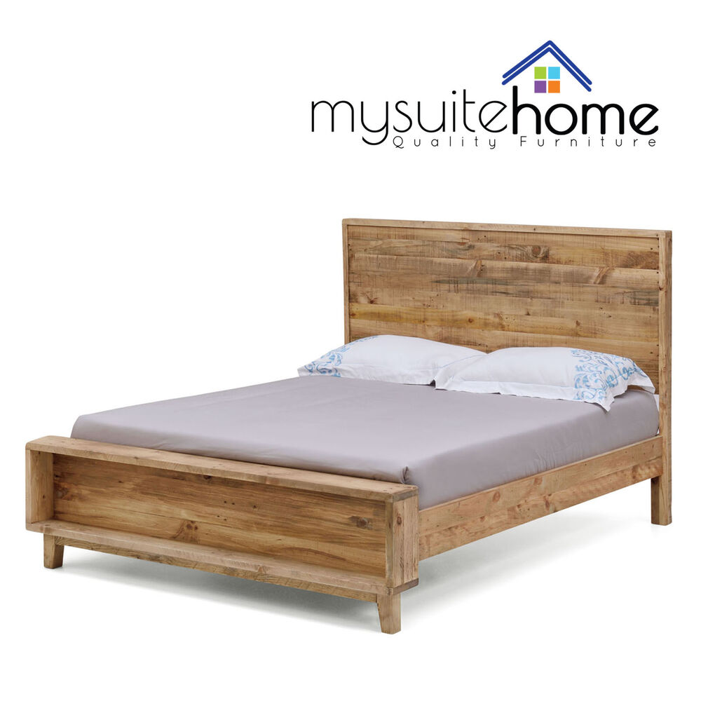 portland solid recycled pine timber double queen king size bed frame with slats ebay. Black Bedroom Furniture Sets. Home Design Ideas