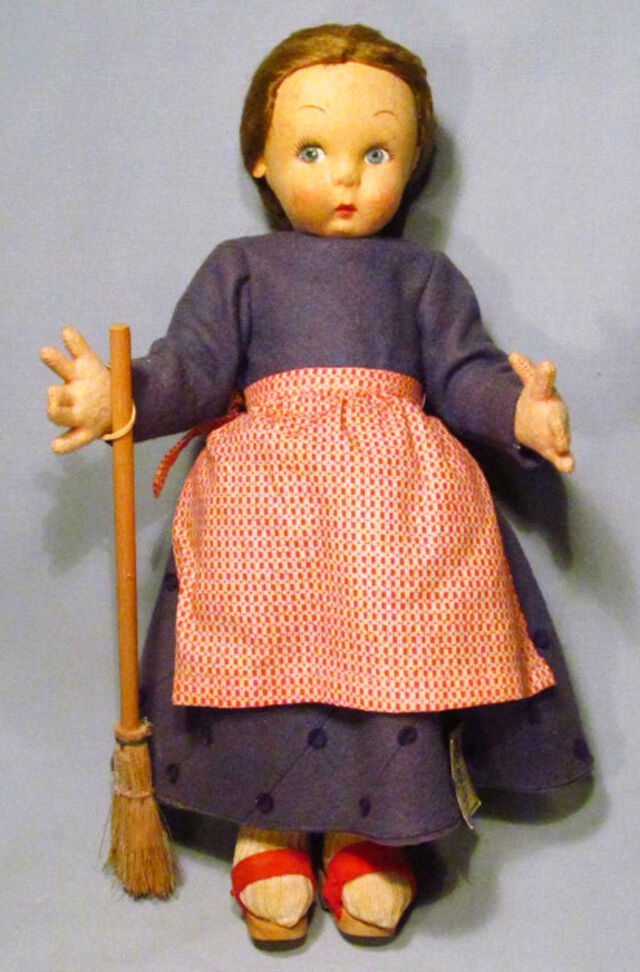 Vintage Lenci Italy 12 Quot Felt Girl Doll Holding Broom With