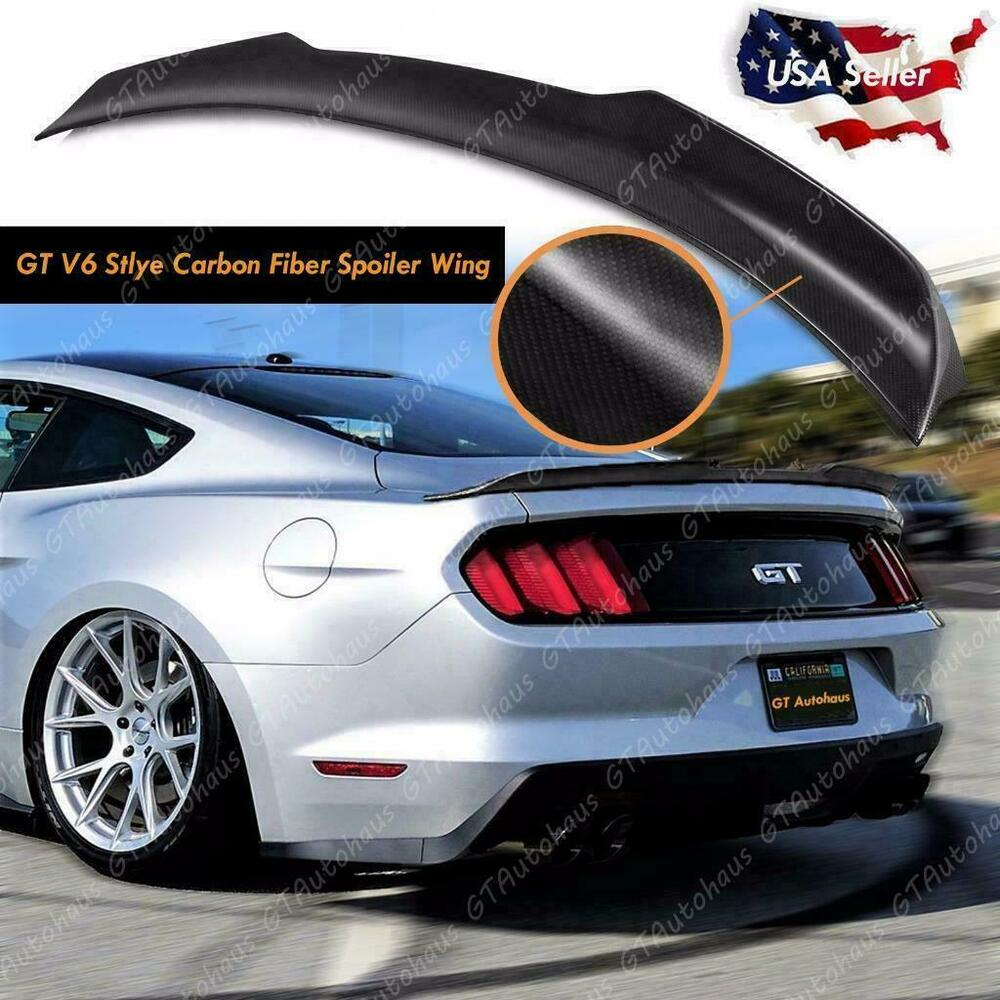 2015 2017 ford mustang rear trunk lid spoiler wing gt style real carbon fiber ebay. Black Bedroom Furniture Sets. Home Design Ideas