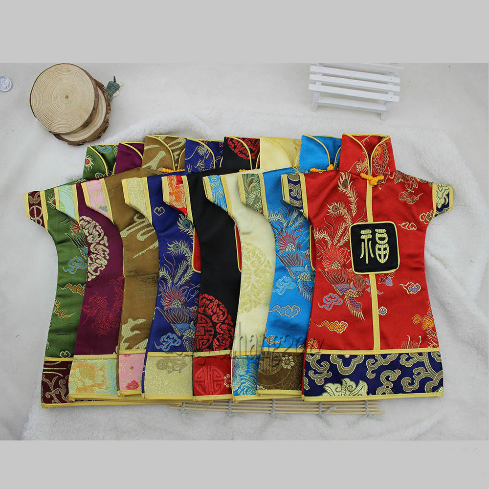 Wholesale 10pcs oriental chinese dress silk wine bottle for Wholesale decor