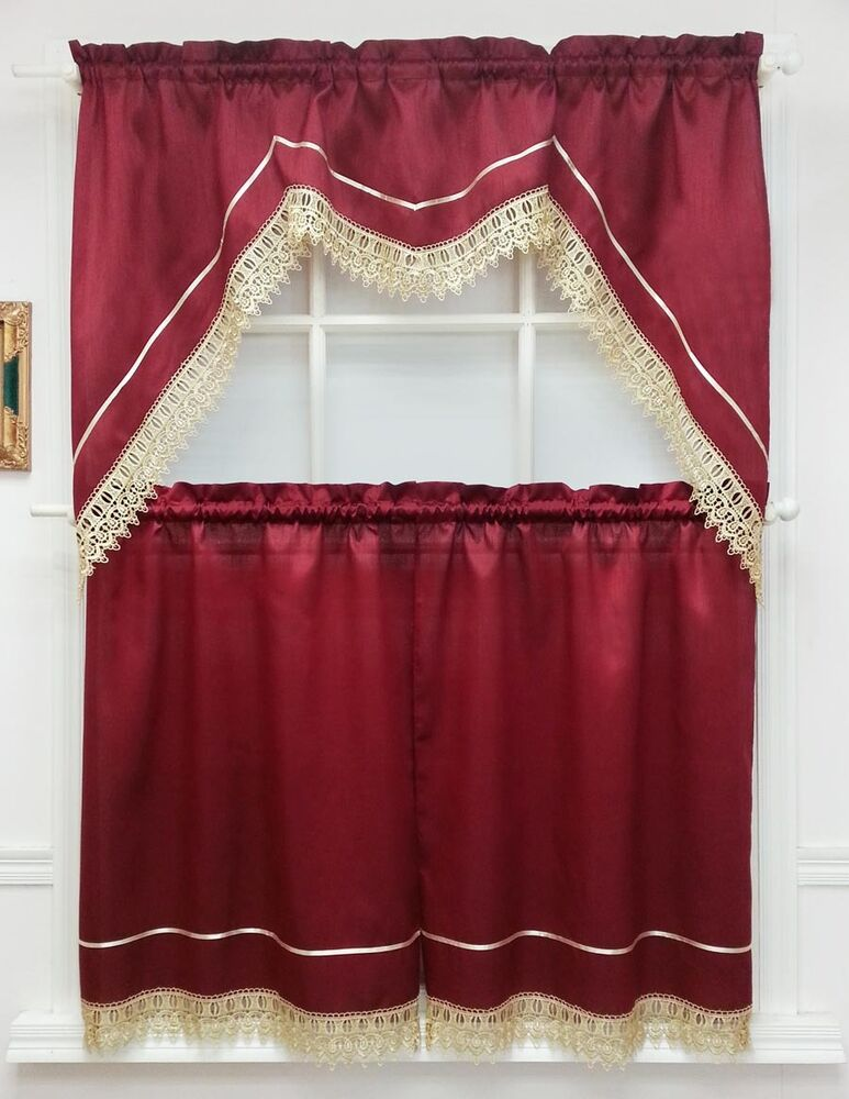 Modern Queen 3pcs Lace Kitchen Curtain Set Swag And