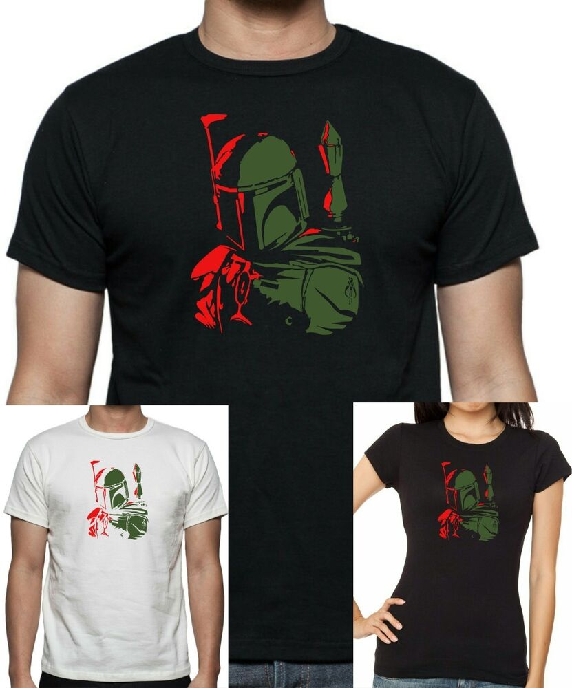Mens and womens star wars boba fett t shirt sizes up for Size 5x mens dress shirts