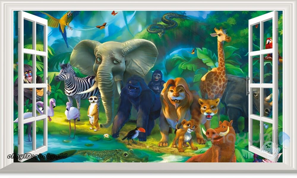 Jungle Animals Safari Giraffe 3d Window Wall Decal