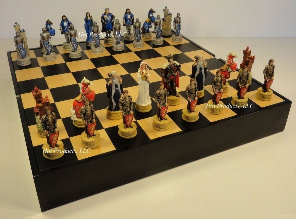 King arthur camelot medieval times chess set black maple wood storage board ebay - Medieval times chess set ...