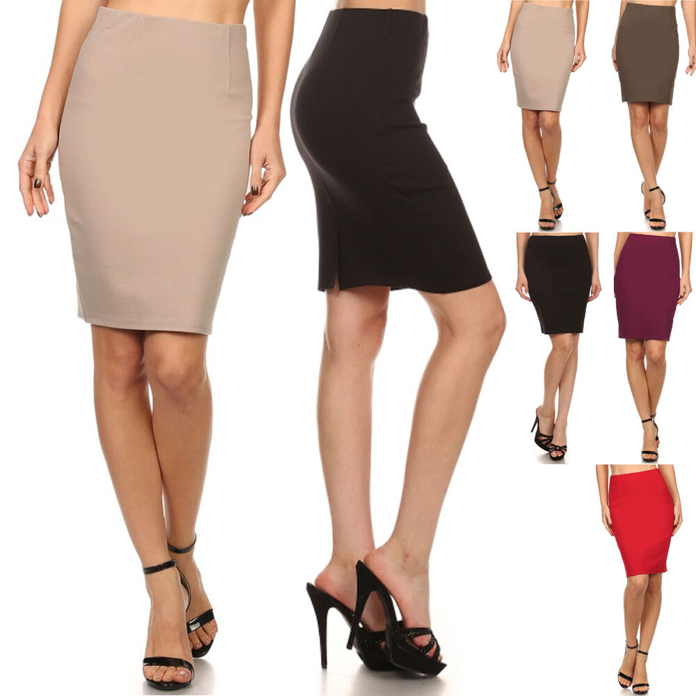 business high waist slim fitted bodycon knee length